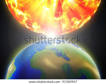 Earth and the sun collide together.