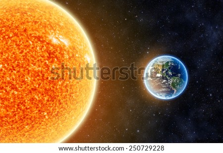 Earth and the Sun - Elements of this Image Furnished By NASA - stock photo