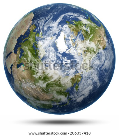 Earth - Arctic white isolated. Earth globe model, maps courtesy of NASA