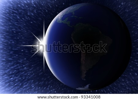 Earth as seen from space with sunrise