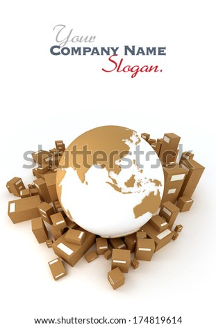 Earth Asia oriented surrounded by packages - stock photo