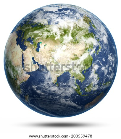 Earth - Asia white isolated. Earth globe model, maps courtesy of NASA - stock photo