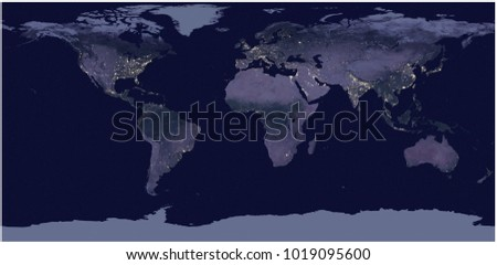World city lights map night earth stock vector 791676871 earth at night 3d rendering gumiabroncs Choice Image