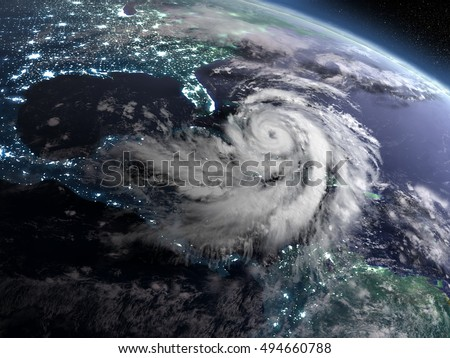 Earth at night from orbit with city lights and huge hurricane near florida, USA. 3D illustration. Elements of this image furnished by NASA