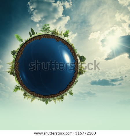 Earth at the skies, abstract environmental backgrounds - stock photo