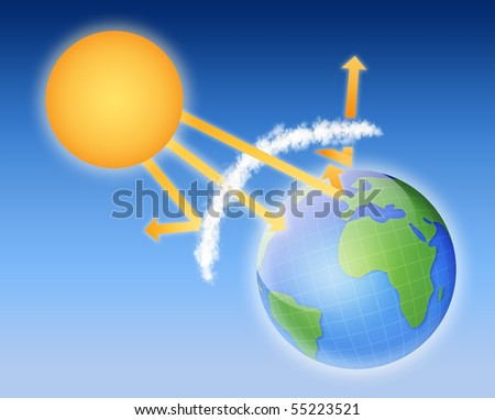 Earth atmosphere greenhouse effect scheme with sun rays and planet