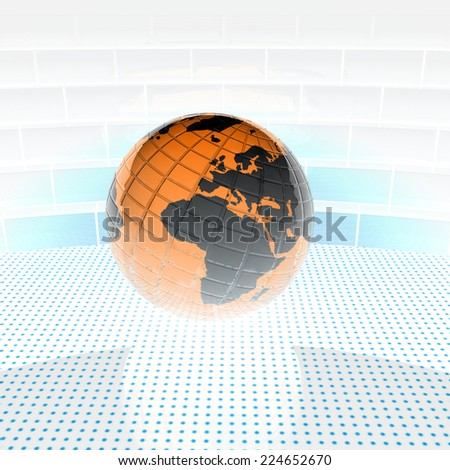 Earth ball on light path to infinity. 3d render  - stock photo