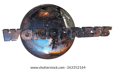Earth ball with wordpress and text 3d rendering with clipping path