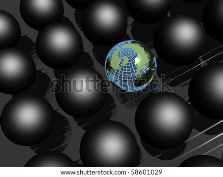 Earth balls and black balls on black reflective background.