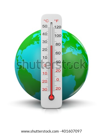 Earth Behind a Thermometer on White Background 3D Illustration , Global Temperature Concept
