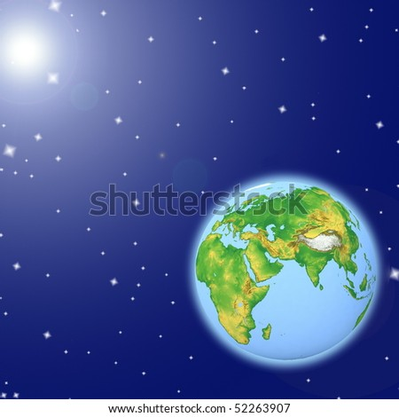 Earth blue planet in space