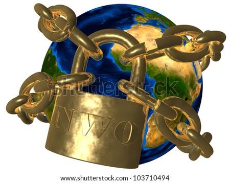 Earth breaking golden chain of New World Order (NWO) Elements of this image furnished by NASA - stock photo