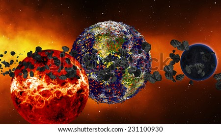 Earth burning or exploding after a global disaster, Apocalypse asteroid impact globe. (Elements of this 3d rendered image furnished by NASA) - stock photo