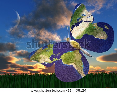 Earth Butterfly - stock photo