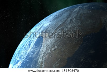 Earth close up view - stock photo