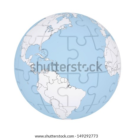 Earth consisting of puzzles. Isolated render on a white background