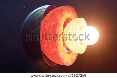 Earth core structure. Elements of this image furnished by NASA - stock photo