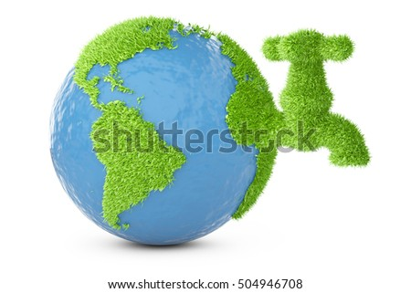 Earth covered grass with faucet. 3d illustration isolated on a white background.