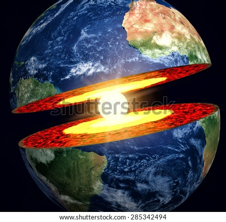 Earth cut-away with visible iron core - stock photo