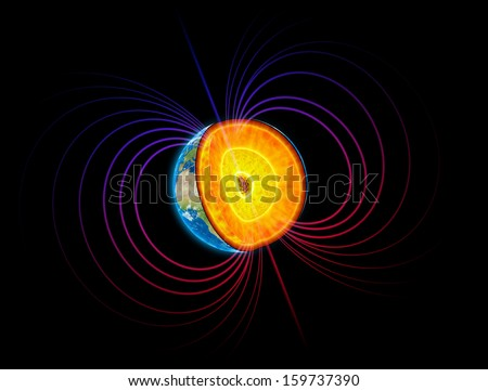Earth cut-away with visible iron core and the magnetosphere - stock photo