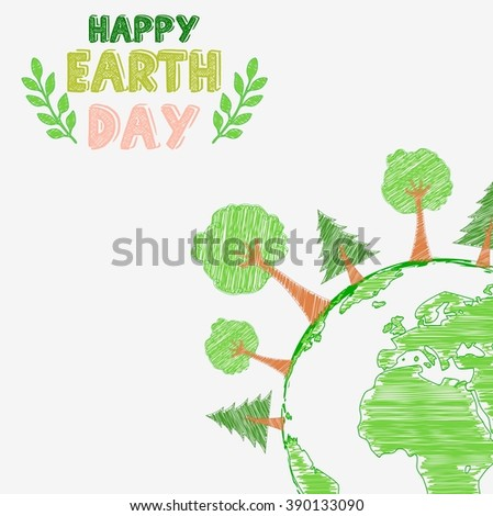 Earth day and the environment with shape paintings - stock photo