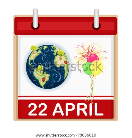 Earth Day - 22 April - celebration with balloons and fireworks. - stock photo