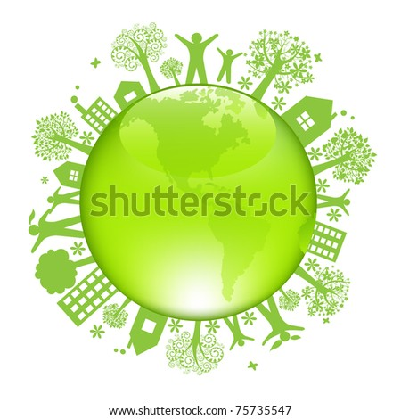 Earth Day Concept, Isolated On White Background