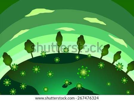 Earth Day. Green Planet, flowers and trees. - stock photo