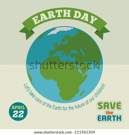 Earth day holiday poster in flat design