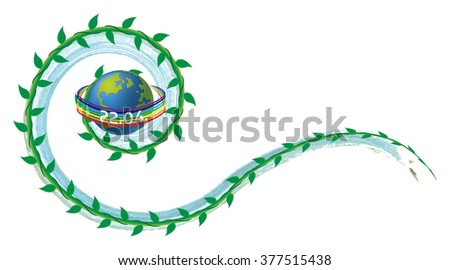 Earth Day illustration - 22nd of April, with ocean wave and plant (vegetation) swirls, and peace rainbow, with copy space for text or as a graphic element. - stock photo