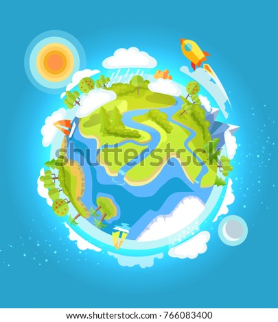 Earth Day template colorful poster with planet, shining sun and flying rocket. Eco world environment holiday  illustration