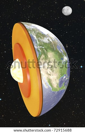 Earth dissection in space - stock photo
