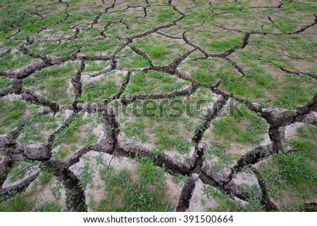 earth, Dried out land in drought Grass green - stock photo