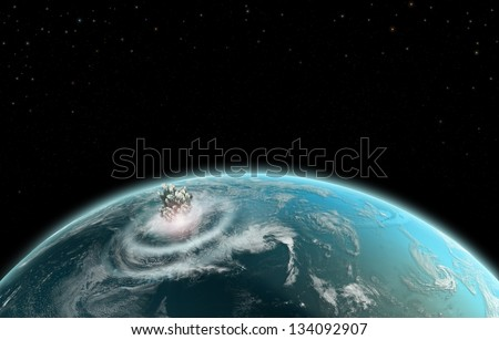 Earth Explosion Impact - Elements of this image furnished by NASA