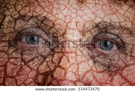 earth eyes - ecology concept - stock photo