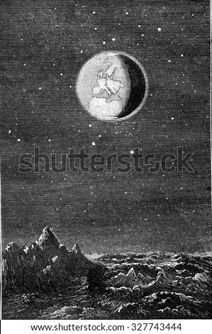 Earth from Moon, vintage engraved illustration. Magasin Pittoresque 1877.