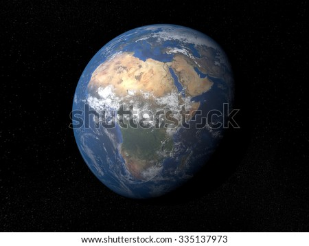 Earth from space Africa. Planet Earth in space with stars on the background.