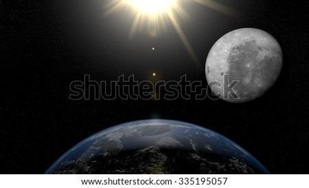 Earth from space Asia. Planet Earth, Moon and Sun in space with stars on the background.