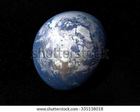Earth from space Canada. Planet Earth in space with stars on the background.