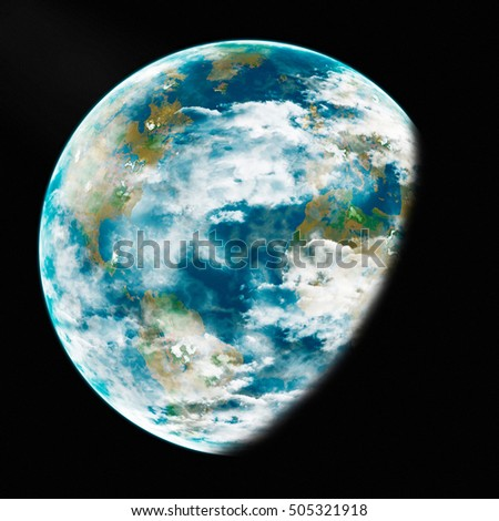 Earth from space. Detailed image. Elements of this image furnished by NASA. 3d illustration.