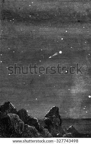 Earth from Venus, vintage engraved illustration. Magasin Pittoresque 1877. - stock photo