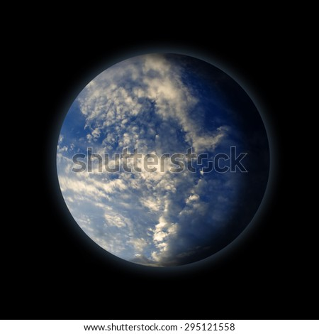 earth full water blue sky with clouds  - stock photo