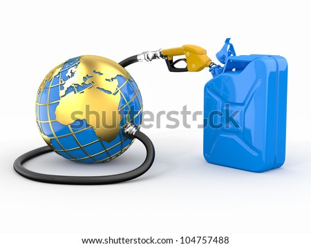 Earth, gas pump nozzle and canister. 3d - stock photo
