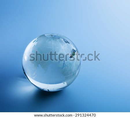 Earth glasses, isolated on blue background