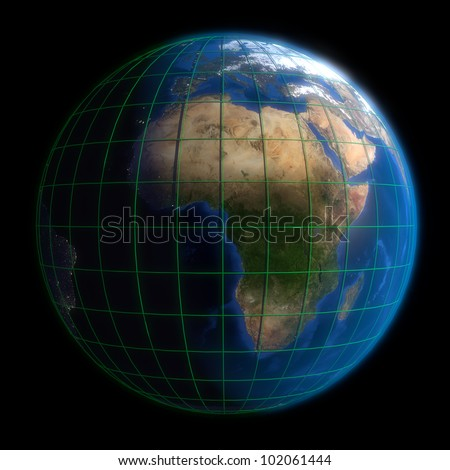 Earth Globe Africa - Latitude and Longitude. 3d Render using NASA texture maps.