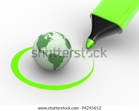 Earth globe and a marker. Environment. Checkmark. 3d render