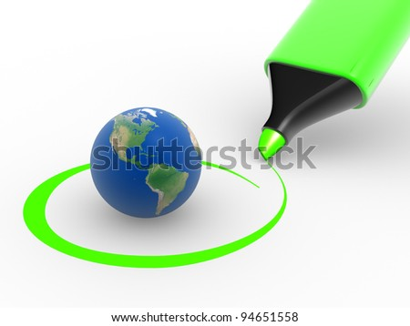 Earth globe and a marker. Environment. Checkmark. 3d render - stock photo