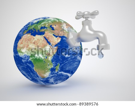 Earth globe and a tap - Consuming environment resources concept. 3d render illustration - stock photo