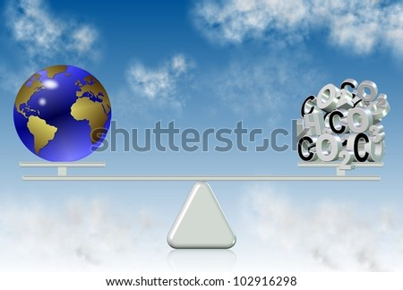 earth globe and carbon components on a seesaw with a blue sky in the background / carbon emission and world - stock photo