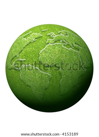 earth globe and continents completely covered with grass
